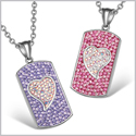 Magic Hearts Austrian Crystal Love Couple Best Friends Dog Tag Fuscia Pink Purple Rainbow White Necklaces