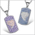 Magic Hearts Austrian Crystal Love Couple or Best Friends Dog Tag Purple Rainbow White Sky Blue Necklaces