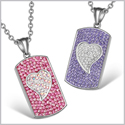 Magic Hearts Austrian Crystal Love Couple Best Friends Dog Tag Fuscia Pink Rainbow White Purple Necklaces