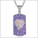 "Magic Heart Austrian Crystals Amulet Love Energy Purple and Rainbow White Dog Tag Pendant 18"" Necklace"