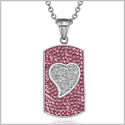 "Magic Heart Austrian Crystals Amulet Love Energy Rose Pink and White Dog Tag Pendant 18"" Necklace"