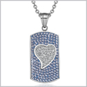 "Magic Heart Austrian Crystals Amulet Love Energy Sky Blue and White Dog Tag Pendant 18"" Necklace"