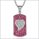 "Magic Heart Austrian Crystals Amulet Love Energy Fuscia Pink and White Dog Tag Pendant 18"" Necklace"