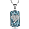 "Magic Heart Austrian Crystals Amulet Love Energy Aqua Blue and White Dog Tag Pendant 18"" Necklace"