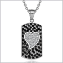 "Magic Heart Austrian Crystals Amulet Love Yin Yang Energy Black and White Dog Tag Pendant 18"" Necklace"