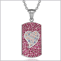 "Magic Heart Austrian Crystals Amulet Love Energy Hot Pink and Rainbow White Dog Tag Pendant 18"" Necklace"