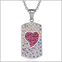 "Magic Heart Austrian Crystals Amulet Love Energy Rainbow White Fuscia Pink Dog Tag Pendant 18"" Necklace"
