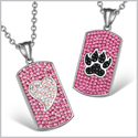 Heart and Wolf Paw Austrian Crystal Love Couples Best Friends Dog Tag Fuscia Pink Black White Necklaces