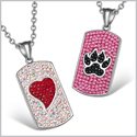Heart and Wolf Paw Austrian Crystal Love Couples Best Friends Dog Tag Red White Pink Black Necklaces