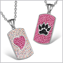 Heart and Wolf Paw Austrian Crystal Love Couples Best Friends Dog Tag Rainbow White Pink Black Necklaces