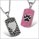 Heart and Wolf Paw Austrian Crystal Love Couples Best Friends Dog Tag White Fuscia Pink Black Necklaces