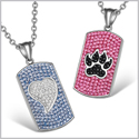 Heart and Wolf Paw Austrian Crystal Love Couples Best Friends Dog Tag White Black Pink Sky Blue Necklaces