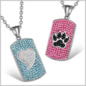 Heart Wolf Paw Austrian Crystal Love Couples Best Friends Dog Tag White Black Pink Aqua Blue Necklaces