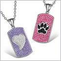 Heart and Wolf Paw Austrian Crystal Love Couples Best Friends Dog Tag White Black Pink Purple Necklaces