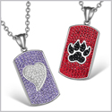 Heart and Wolf Paw Austrian Crystal Love Couples Best Friends Dog Tag White Purple Red Black Necklaces