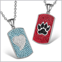 Heart and Wolf Paw Austrian Crystal Love Couples Best Friends Dog Tag White Aqua Blue Red Black Necklaces
