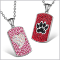 Heart and Wolf Paw Austrian Crystal Love Couples Best Friends Dog Tag Cherry Red Black Pink Necklaces