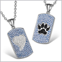 Heart and Wolf Paw Austrian Crystal Love Couples Best Friends Dog Tag Sky Blue White Jet Black Necklaces
