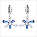 Magical Abstract Snowflake Lucky Charms Unique Royal Blue White Sparkling Crystals Silver-Tone Earrings