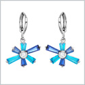 Magical Abstract Snowflake Lucky Charms Unique Royal and Sky Blue Sparkling Crystals Silver-Tone Earrings
