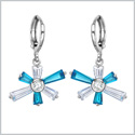 Magical Abstract Snowflake Lucky Charms Unique Sky Blue and White Sparkling Crystals Silver-Tone Earrings