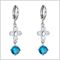 Gorgeous and Unique Holy Cross and Round Stud Aqua Blue Sparkling Crystals Silver-Tone Fashion Earrings