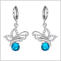 Magical and Cute Butterflies Lucky Charms Silver-Tone Aqua Blue White Sparkling Crystals Unique Earrings