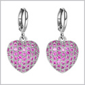 Fancy Kanji Long Life Hearts Magic Amulets Royal Pink Sparkling Crystals Silver-Tone Fashion Earrings