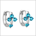Small and Beautiful Holy Cross Lucky Charms Silver-Tone Aqua Blue Sparkling Crystals Fashion Earrings