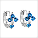 Small and Beautiful Holy Cross Lucky Charms Silver-Tone Ocean Blue Sparkling Crystals Fashion Earrings