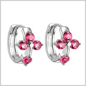 Small and Beautiful Holy Cross Lucky Charms Silver-Tone Royal Pink Sparkling Crystals Fashion Earrings