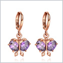 Magical and Beautiful Butterflies Lucky Charms Amulets Gold-Tone Cute Purple Sparkling Crystals Earrings