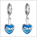 Small Very Cute Unique Love Couples Heart Silver-Tone Ocean Blue Sparkling Crystal Magic Fashion Earrings