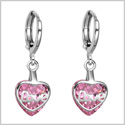 Small Very Cute Unique Love Couples Heart Silver-Tone Sweet Pink Sparkling Crystal Magic Fashion Earrings