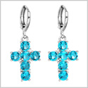 Fancy and Magical Holy Cross Charms Silver-Tone Positive Energy Aqua Blue Sparkling Crystals Earrings