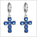 Fancy and Magical Holy Cross Charms Silver-Tone Positive Energy Ocean Blue Sparkling Crystals Earrings