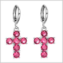 Fancy and Magical Holy Cross Charms Silver-Tone Positive Energy Royal Pink Sparkling Crystals Earrings