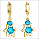 King of Solomon Gold-Tone Star of David Lucky Charms Magic Sky Blue Sparkling Crystals Amulets Earrings