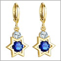 King of Solomon Gold-Tone Star of David Lucky Charms Magic Ocean Blue and White Crystals Amulets Earrings
