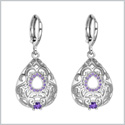 Beautiful Amazing Filigree Teardrop Charms Silver-Tone Royal Purple Sparkling Crystals Amulet Earrings