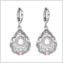 Beautiful Amazing Filigree Teardrop Lucky Charm Silver-Tone Sweet Pink Sparkling Crystals Amulet Earrings