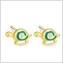 Tiny and Very Cute Lucky Charm Turtles Aqua Blue Accents Gold-Tone Snow White Sparkling Crystals Earrings