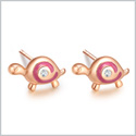 Tiny and Very Cute Lucky Charm Turtles Royal Pink Accents Gold-Tone Snow White Sparkling Crystal Earrings
