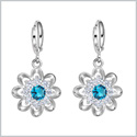 Fancy Magical Sunflower Positive Energy Charms Silver-Tone Aqua Blue Sparkling Crystals Amulet Earrings