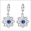 Fancy Magical Sunflower Positive Energy Charms Silver-Tone Royal Blue Sparkling Crystals Amulet Earrings