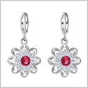 Fancy Magical Sunflower Positive Energy Charms Silver-Tone Royal Red Sparkling Crystals Amulet Earrings