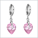 Beautiful Cute Teardrop Style Hearts Lucky Charm Silver-Tone Sweet Pink Sparkling Crystals Magic Earrings