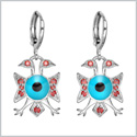American Eagle and Evil Eye Protection Powers Amulets Silver-Tone Royal Red Sparkling Crystals Earrings
