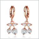 Beautiful and Cute Lucky Cherry Charms White Sparkling Crystals Gold-Tone Eardrop Fashion Earrings