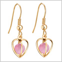 Magical Soul and Heart Cage Spiritual Powers Sweet Pink Simulated Cats Eye Gold-Tone Amulets Earrings